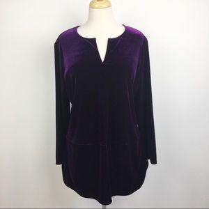 LAUREN RALPH LAUREN v-neck velvet tunic blouse